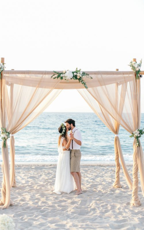 Boho beach wedding in Rethymno, Crete, Greece