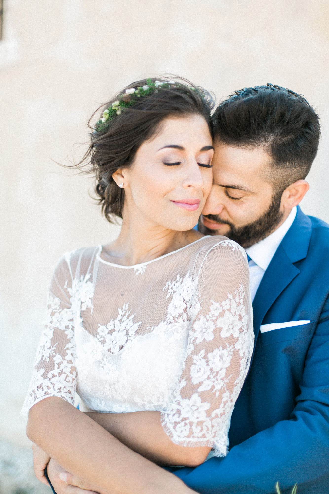 Professional Wedding Photosession In Crete Closeup Portrait Of Bride And Groom Posing With Spinalonga Island