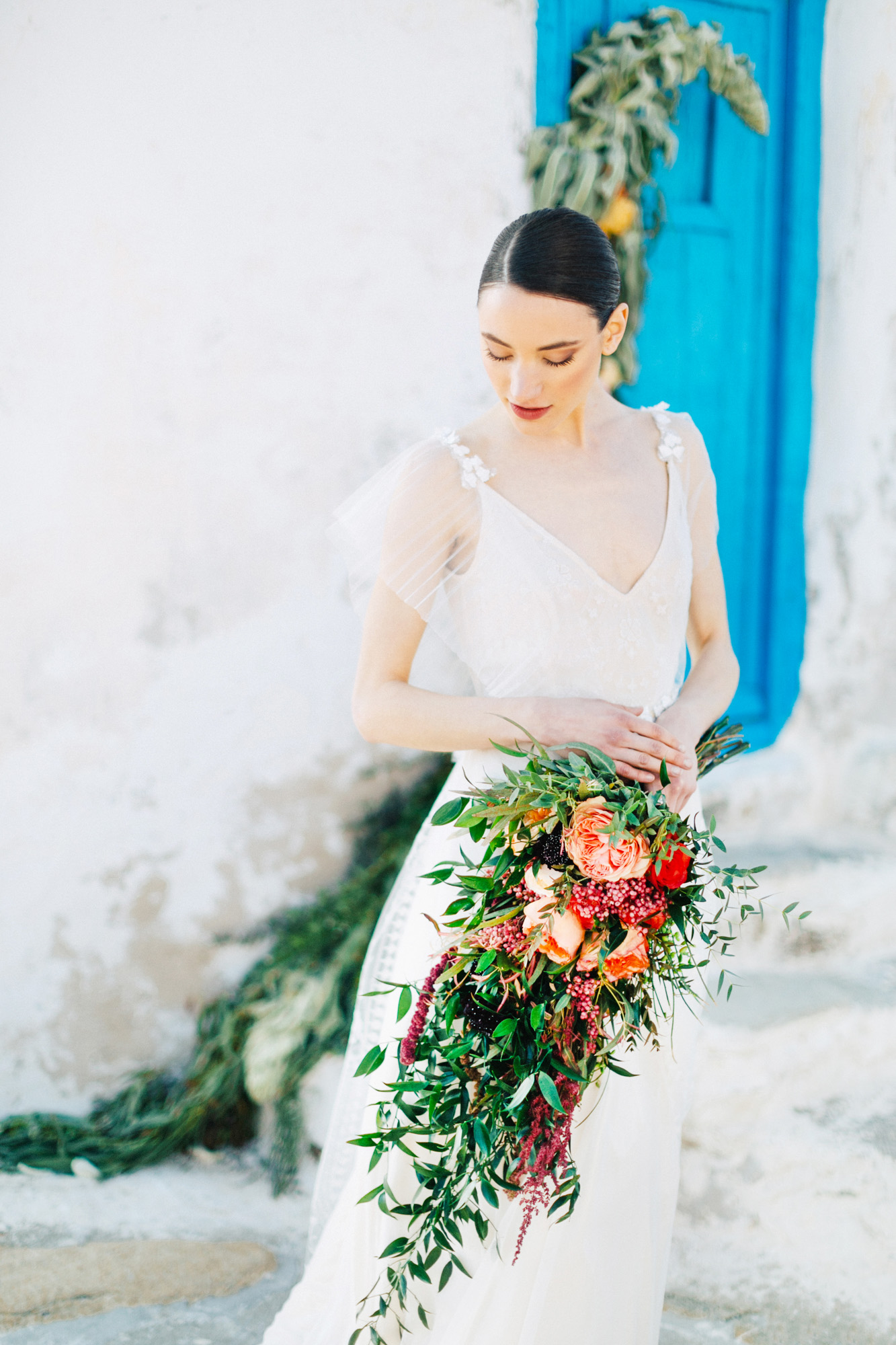 Beautiful modern bride at her wedding in Mykonos island, Greece.