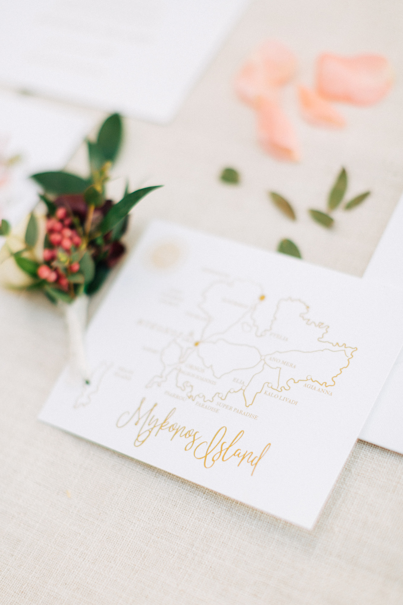 Destination wedding stationery set for Mykonos island wedding. Wedding invitation and details.