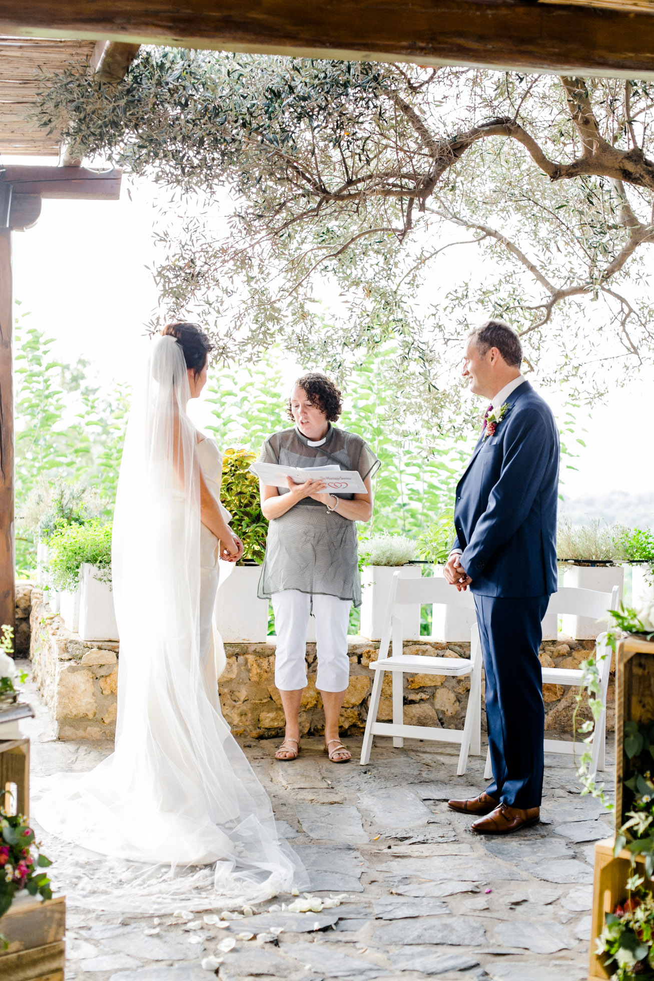 Destination wedding ceremony in Crete, Greece.